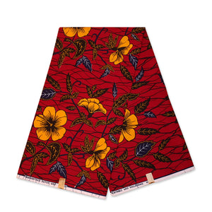 VLISCO Hollandais Wax print fabric - Dark red / Yellow hibiscus flowers