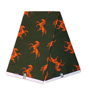 VLISCO Hollandais Wax print fabric - Dark Green / Orange JUMPING HORSE