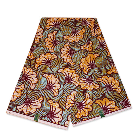 VLISCO Hollandais Wax print fabric - Orange wedding flowers