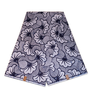 VLISCO Hollandais Wax print fabric - Black / White wedding flowers