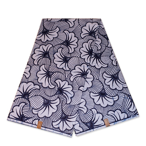 VLISCO Hollandais Wax print fabric - Dark Blue / White wedding flowers