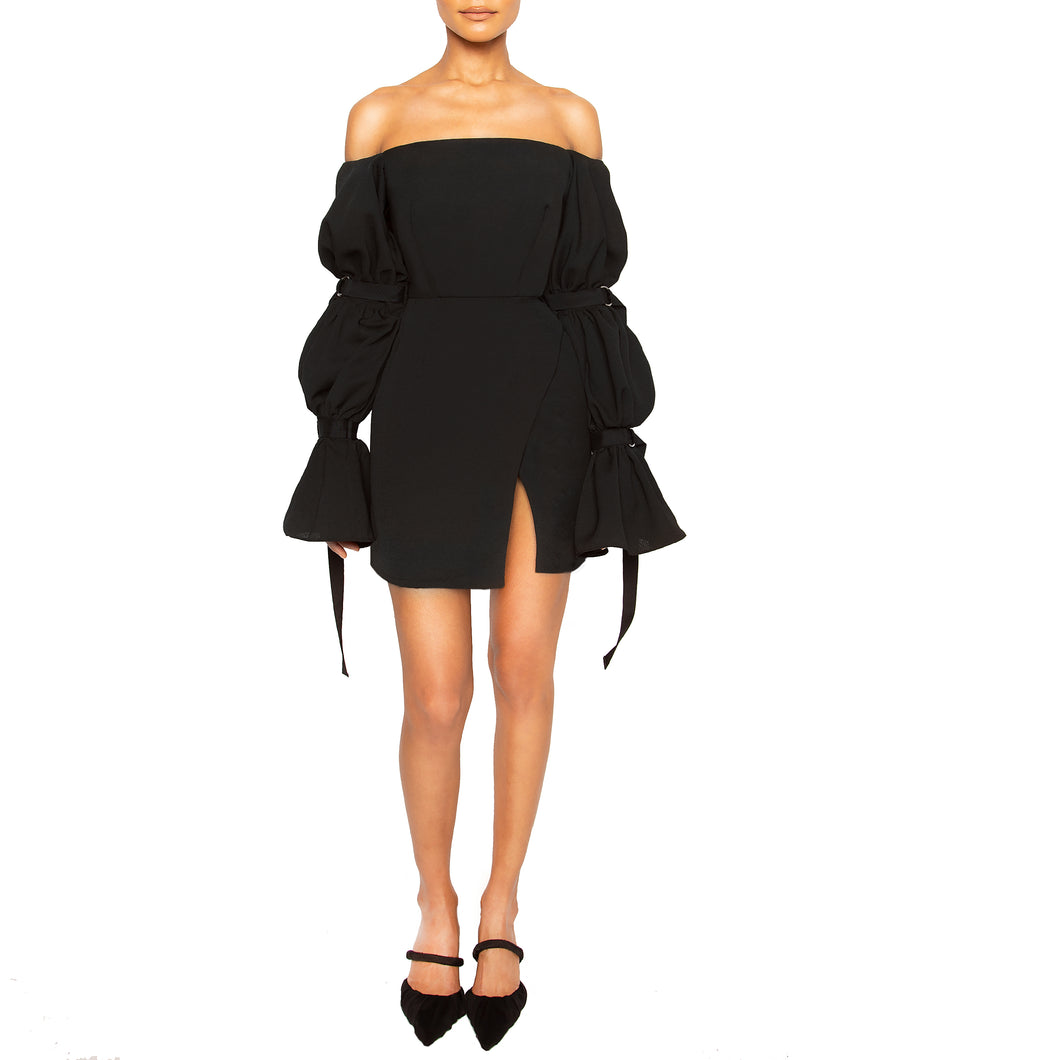 israella KOBLA strapless mini dress with 3 tiered sleeves in colour black