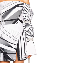 Load image into Gallery viewer, ASHA | Off-Shoulder Mini Dress in Black and White Print