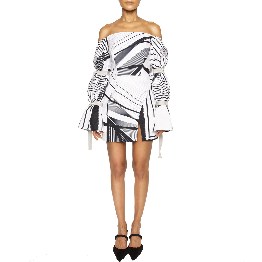 israella KOBLA strapless mini dress with 3 tiered sleeves in black and white colour