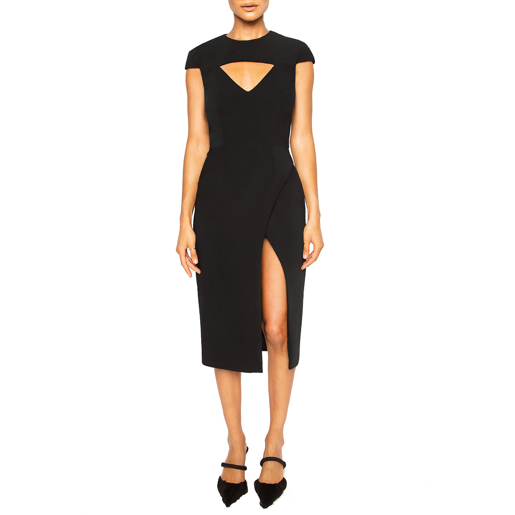 israella KOBLA cap sleeve midi dress with v neck cut out in colour black