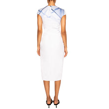 Load image into Gallery viewer, AZAD | Cap Sleeve Midi Dress in Blue and White Print