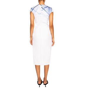 AZAD | Cap Sleeve Midi Dress in Blue and White Print