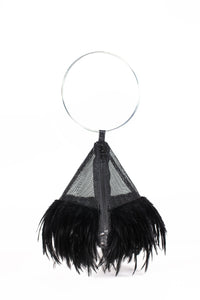 PYRAMID BAG IN BLACK MESH AND FEATHERS WITH CIRCLE METAL HANDLE