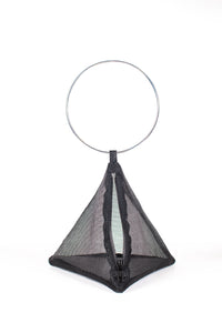 PYRAMID BAG IN BLACK MESH WITH CIRCLE METAL HANDLE