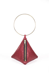 PYRAMID BAG IN RED OSTRICH SKIN WITH CIRCLE METAL HANDLE