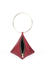 Load image into Gallery viewer, PYRAMID BAG IN RED OSTRICH SKIN WITH CIRCLE METAL HANDLE