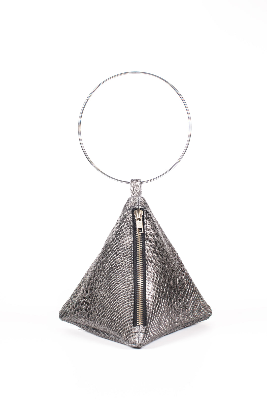 PYRAMID BAG IN METALLIC SNAKE SKIN WITH CIRCLE METAL HANDLE