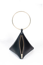 Load image into Gallery viewer, PYRAMID BAG IN BLACK TEXTURED LEATHER WITH GOLD CIRCLE METAL HANDLE