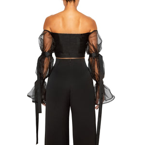 israella KOBLA off shoulder crop top with sheer sleeves and front cut out in black