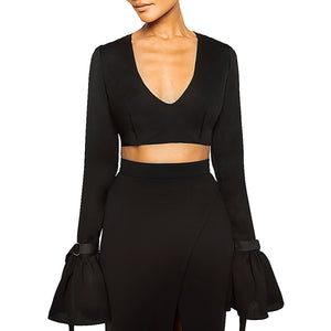 ISSA | V-Neck Crop Top in Black