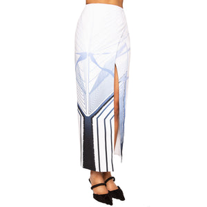 ZANE | High Waist Ankle Skirt in Blue and White Print