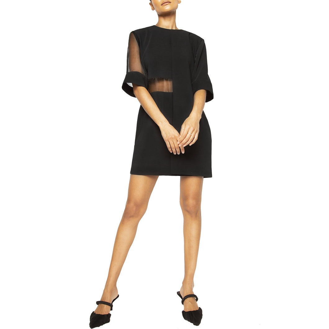 israella KOBLA oversized shift dress with sheer sleeves in black