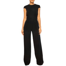Load image into Gallery viewer, israella KOBLA wide leg jumpsuit with open back detail and pockets in black