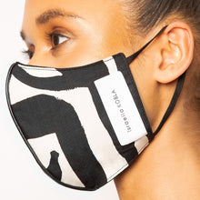 Load image into Gallery viewer, israella KOBLA black and white reversible cotton face mask made in canada
