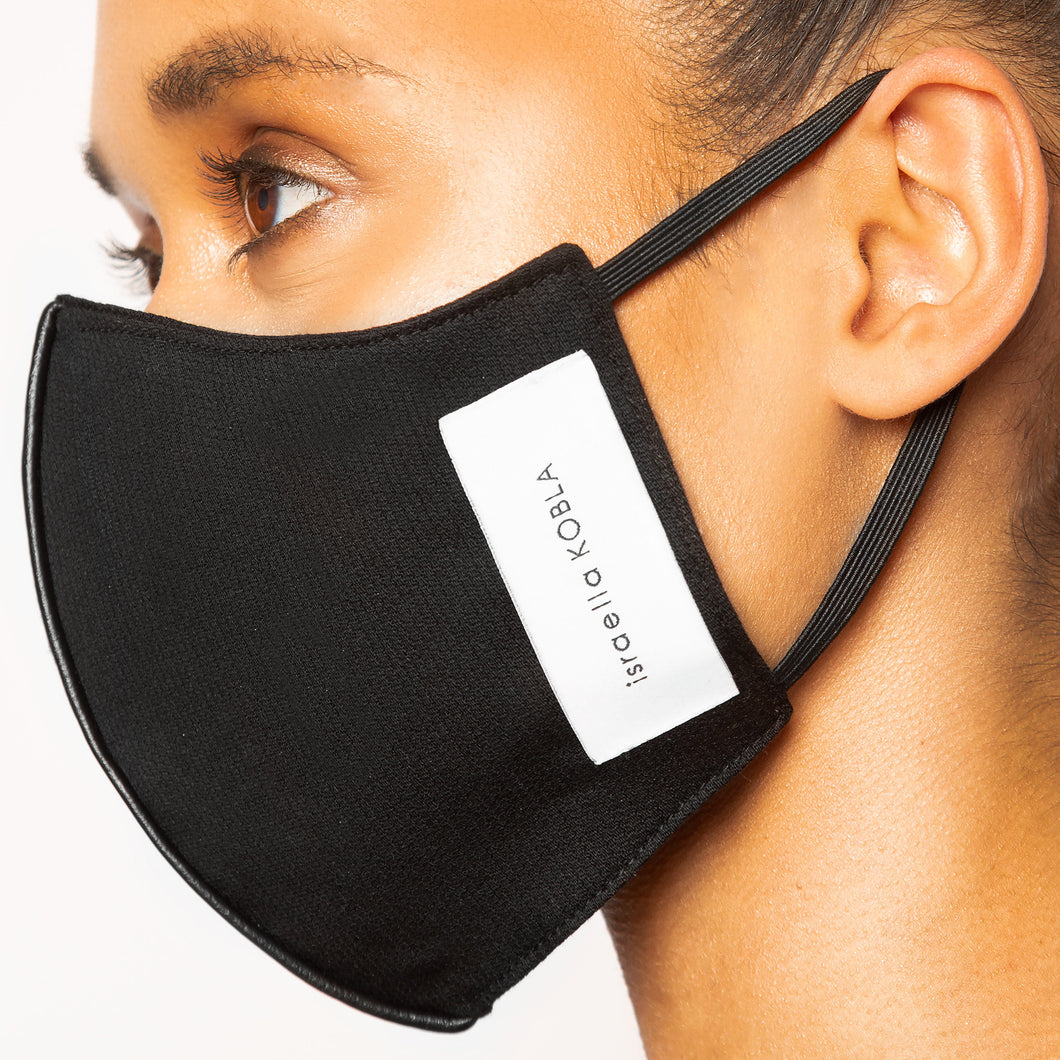 israella KOBLA black reversible cotton face mask made in canada
