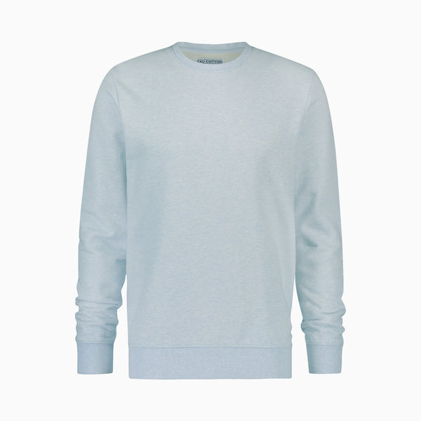 "Cotton Sweatshirt <span class=""color_break"">Light Blue Melange</span>"