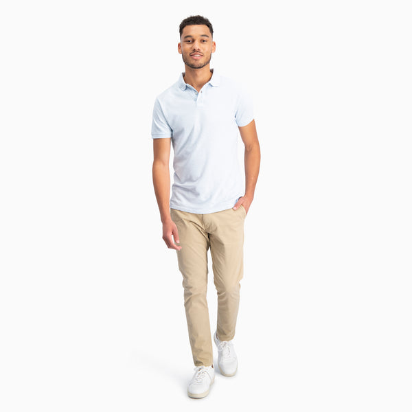 The Pique Polo | Light Blue Melange