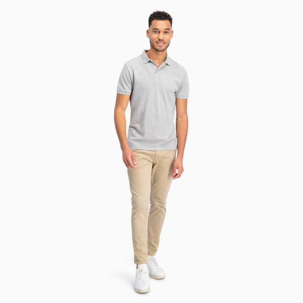 The Pique Polo | Light Grey Melange