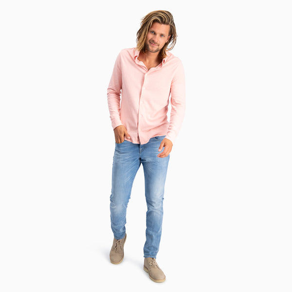 The Pique Shirt | Salmon Pink Melange