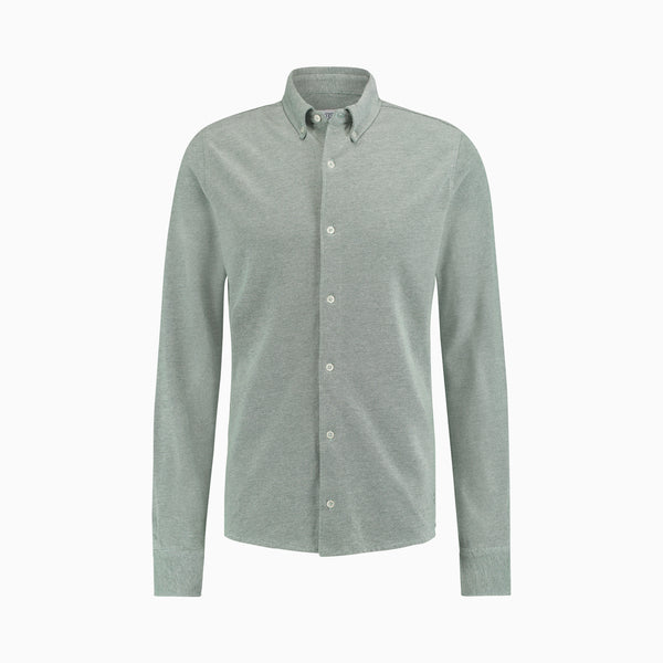 The Pique Shirt | Green Melange