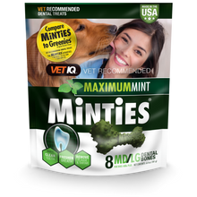 Load image into Gallery viewer, Minties Maximum Mint Medium/Large Dental Chews