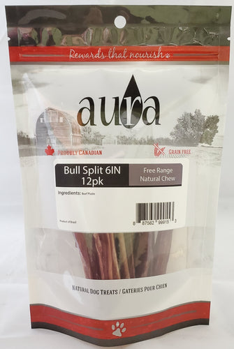 Aura Free Range Bully Split 6IN 12pk Dog Chew