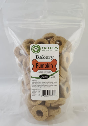 Critters Bakery 250g Pumpkin Organic Dog Biscuits
