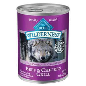 Blue Buffalo Wilderness Grain Free Beef and Chicken Grill Canned Dog Food