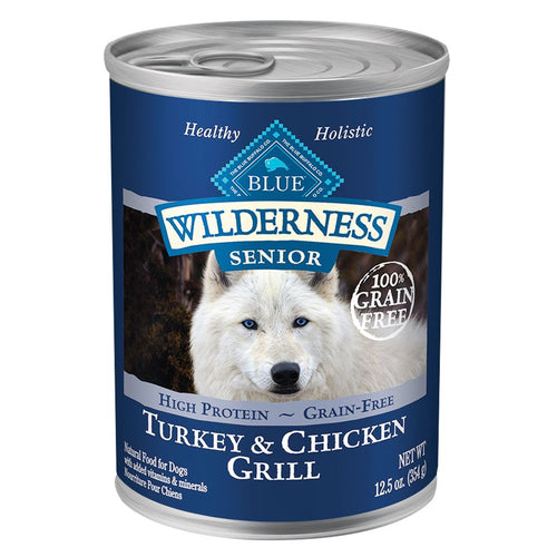 Blue Buffalo Wilderness Grain Free Senior Turkey and Chicken Canned Dog Food