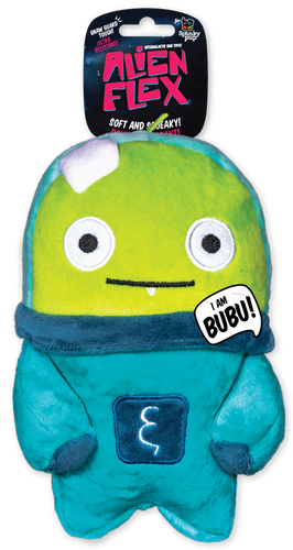 Spunky Alien Flex Plush Bubu Dog Toy