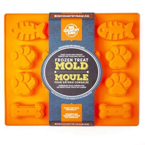 SPECIAL ORDER Big Country Raw Frozen Treat Mold - Fish, Paw & Bone Shape - Large ORANGE