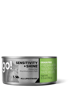 GO Sensitivity and Shine Freshwater Trout and Salmon Pate Grain Free Canned Cat Food