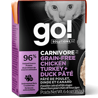 GO! Solutions Carnivore Grain Free Chicken, Turkey + Duck Pate Canned Cat Food