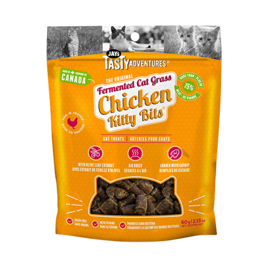 Jay's Tasty Adventure Fermented Cat Grass Chicken Kitty Bites Cat Treats 60g