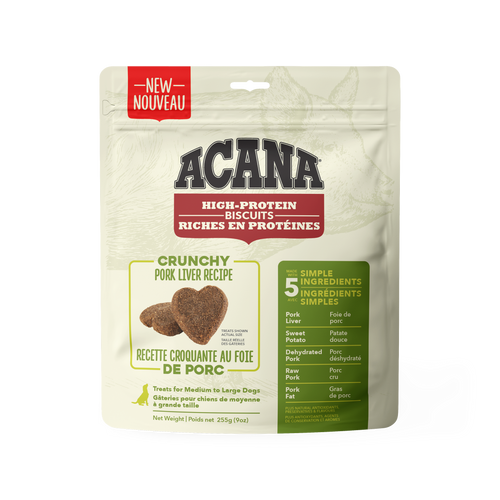 PRESALE Acana High Protein Crunchy Biscuits Pork Liver 255g Dog Treats (Ships Feb.2021)