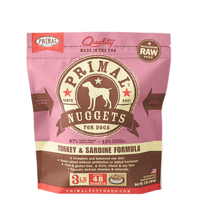 Primal Nuggets 3lbs Turkey & Salmon Raw Dog Food