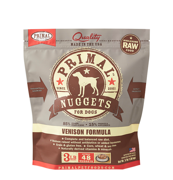 Primal Nuggets 3lbs Venison Raw Dog Food