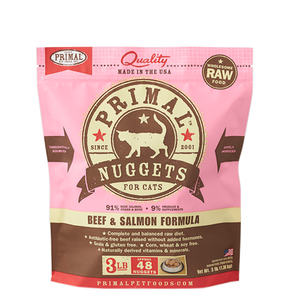 Primal Nuggets 3lbs Beef & Salmon Raw Cat Food