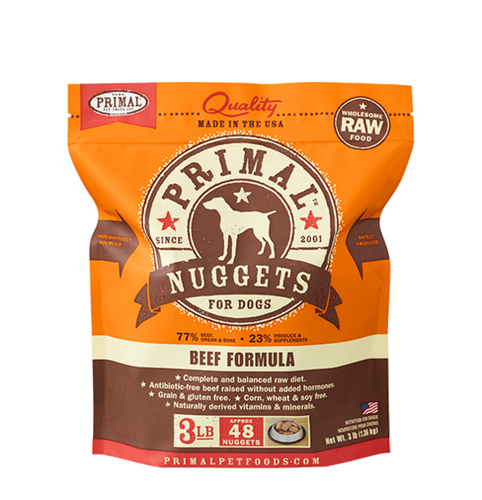 Primal Nuggets 3lbs Beef Raw Dog Food