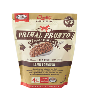Primal Pronto 4lbs Lamb Raw Dog Food