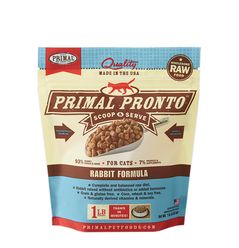 Primal Pronto 1lb Rabbit Raw Cat Food
