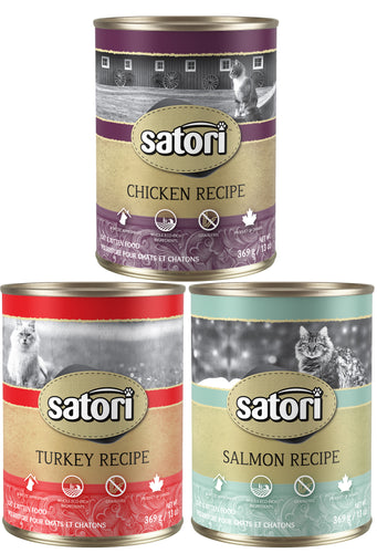 Satori Variety Pack Case 12 x 369g Canned Cat Food