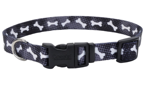 Coastal Adjustable Styles Dog Collar Black Bones