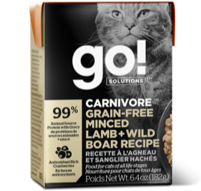 GO! Solutions Grain Free Skin + Coat Care Minced Lamb and Wild Boar Canned Cat Food