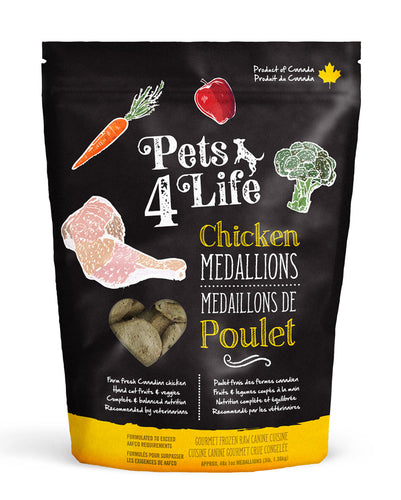 Pets 4 Life Chicken Medallions 1.36kg Raw Dog Food